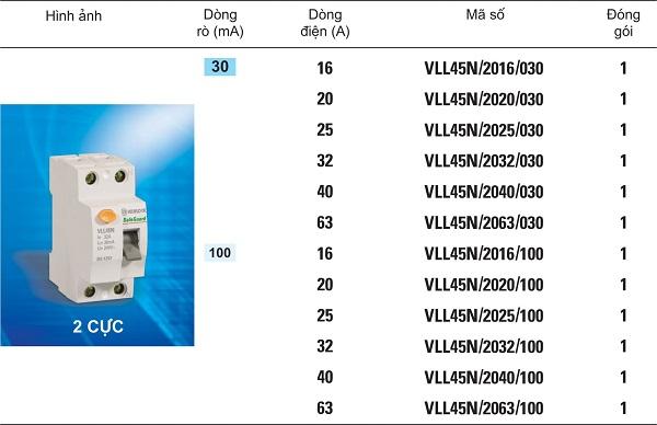Cầu dao dòng rò - VLL45N 1